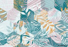 Wzór z kolorowych liści w geometrycznej kompozycji