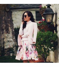 @Who What Wear - Halliedaily is wearing: Ted Baker blazer, Ted Baker skirt, REISS sweater.  Get The Look:  Joie Mehira Blazer ($278)  ​See more ways to wear blush blazers on Pose.com.