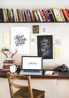 desk area. I'm a fan of the bookshelf above with the pretty stuff right in front of your face.