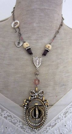 royal crown - assemblage necklace with crown pendant, rosary connector and gemstones by the french circus