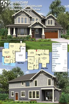 Architectural Designs 3-Bed Craftsman House Plan 69525AM has an open concept main floor plan and a games upstairs. Over 2,900 square feet of heated living space. Ready when you are. Where do YOU want to build?