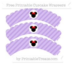 Free Pastel Purple Diagonal Striped  Minnie Mouse Scalloped Cupcake Wrappers