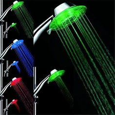 MD&MSLED SHOWER HEAD LED LIGHTS CHANGING AUTOMATICALLY ACCORDING TO WATER TAMPERTURE ULTRA-QUIET NO BATTERIES CROSSED&DISPERION RUNNING WATER FUNCTION HIGH QUALITY FILTER EXCITMENT&PLEASURE
