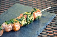 Grilled Pesto Salmon Kebabs Recipe - Life by DailyBurn Healthy Meal Prep, Healthy Eating, Healthy Recipes, Seafood Recipes, Dinner Recipes, Cooking Recipes, Baked Cabbage Steaks, Salmon Skewers, Meat Skewers