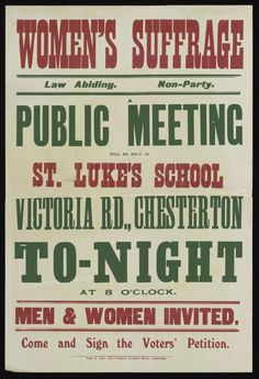 A poster for a meeting in Chesterton
