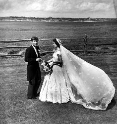 Senator John F. Kennedy of Massachusetts and Jacqueline Bouvier Kennedy on their wedding day, September 12, 1953. Her Dress!