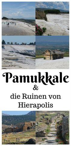 Ein Tag in Pamukkale: Schneeweiße Kalkterrassen und die Ruinen der antiken Großstadt Hierapolis. Meine Meinung zur meistbesuchten Sehenswürdigkeit in der Türkei und was es dort alles zu sehen gibt findest du in meinem neuen Blogbeitrag: http://www.tuerkeireiseblog.de/pamukkale/