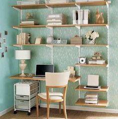 väggmonterad skrivbord med hyllor foto - 3