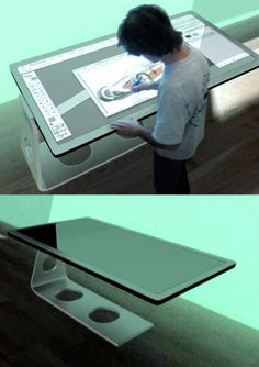 Designer Michael Powers has devised a drafting table that combines all the designing tools together on its touch sensitive surface. Integrating a monitor, together with virtual keyboard and mouse on the touchscreen surface, the table comes built in wi Intelligent Design, Digital Technology, New Technology, Futuristic Technology, Retail Technology, Technology Design, Innovation, Screen Design, Cool Tech