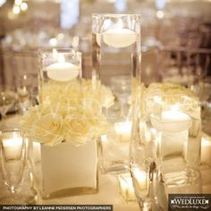Wedding, Reception, White, Centerpiece, Candle, Floating