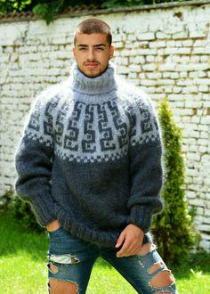 Turtleneck Style, Mohair Sweater, Men Sweater, Iceland, Dark Grey, Hand Knitting, Scandinavian, Turtle Neck, Pullover