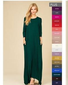 Jenna Maxi - Plus size in Burgundy or Hunter Green                      – Sweet Huckleberry