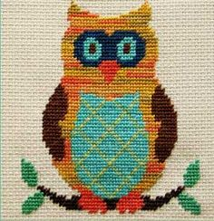Oscar the Owl - a half cross stitch project that's quick & cute! Very beautiful.