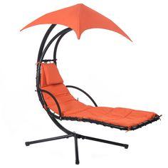 Hanging Chaise Lounge Chair Arc Stand Air Porch Swing Hammock Canopy Orange - Lawn & Garden - Home & Garden
