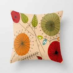 Mid-Century Modern Dandelion Clocks Throw Pillow