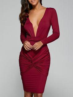 Long Sleeve Twist Front Plunge Dress in Red   Sammydress.com