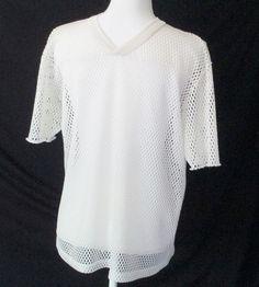 Mens Mesh T Shirt XL Ivory Short Sleeve V Neck Fishnet Athletic Vtg 90s Flaws  #IndyKnit #VNeck