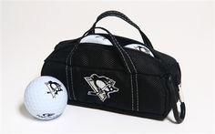 Pittsburgh Penguins Mini Hockey Bag with Golf Balls by Hockey Stick Putter.  Buy it @ ReadyGolf.com