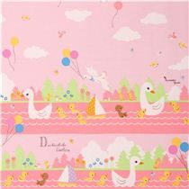 pale pink Ugly Duckling fairy tale oxford fabric by Kokka