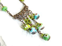 Bohemian glass bead necklace Blue Green by MarianneMerceria