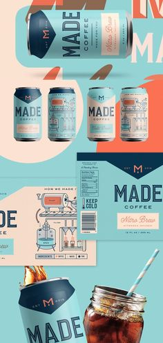 Check Out The Beautiful Illustrations and Typography On This Coffee Kenny Coil designed this beautifully illustrated packaging for Made Coffee. ,Check Out The Beautiful Illustrations and Typography On This Coffee, Coffee Label, Coffee Packaging, Coffee Bags, Chocolate Packaging, Iced Coffee, Design Café, Label Design, Package Design, Brand Design