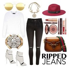 """""""Ripped Jeans"""" by ac-silver ❤ liked on Polyvore featuring River Island, Giuseppe Zanotti, Gucci, Calvin Klein Collection, Bebe, Mykita and Charlotte Tilbury"""