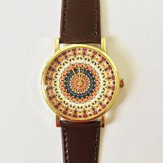 Mandala Watch Vintage Style Leather Watch Women by FreeForme