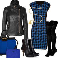 Blaues Wunder  #Lederjacke #Tasche # Stiefeletten #gold #schwarz #Hahnentrittmuster