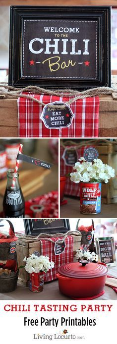 Fun Chili Tasting Dinner Party with Free Printables. This is a perfect idea for the family or a large group of people. Fall party idea, football watching or winter gathering. Easy to create with directions and party labels from @livinglocurto