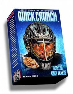 Quick Crunch cereal is a Frosted Flakes cereal that commemorates NHL goalie legend Jonathan Quick. Cereal is sold in units of 2 and comes in 14 oz. sizes. (For those #LAKings fans who have $25 to spend on cereal.)