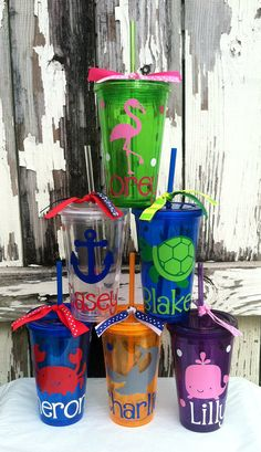 Personalized Beach Themed Tumbler, Double Walled Acrylic Tumbler
