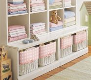 Storage idea for baby stuff and toy storage in room with 2 kids.