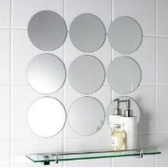 Pack Of 10 Circle Mirrors. .Comes With Strong Adhesive Fixers, Acrylic  Shatterproof Lightweight Mirrors, Look The Same As Normal Mirrors.