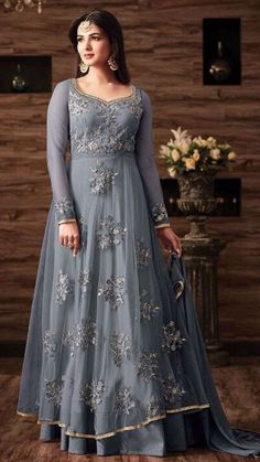 Chicplus Designer Net Bollywood Anarkali Embroidered Semi Stitch Salwar Suit with Dupatta Anarkali Lehenga, Indian Anarkali, Salwar Suits Pakistani, Anarkali Suits, Abaya Mode, Grey Gown, Salwar Suits Party Wear, Party Kleidung, Abaya Fashion
