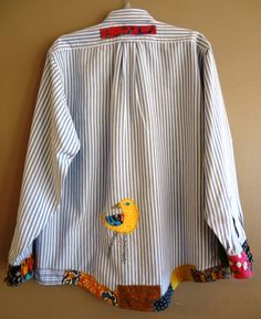 Large / Plus Size Funky Shirt / Upcycled Boyfriend Shirt / OOAK / Blue Stripes - Best Sewing Tips Cute Ideas For Boyfriend, Ropa Shabby Chic, Funky Shirts, Men Shirts, Abaya Mode, Altered Couture, Shirt Refashion, Altering Clothes, Plus Size Shirts