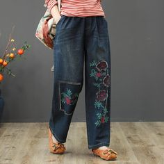 Type: Pants Season:Autumn,Spring,Winter Pants Length:Long Length Style:Casual Material:Denim Waist type:Natural Silhouette:Loose Color: Blue Size:One Size Wide Leg Denim, Wide Leg Pants, Denim Ideas, Pants For Women, Clothes For Women, Linen Pants, Denim Pants, Womens Clothing Stores, Linen Dresses