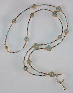 TURQUOISE BLUE FLORAL~EARTH TONE~ BEADED LANYARD~ID BADGE HOLDER~LANYARD~BREAK AWAY $45.00
