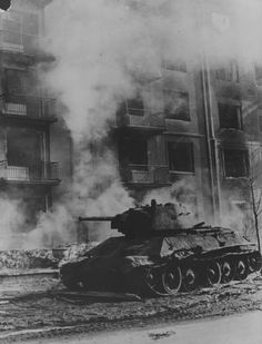 Soviet tank T-34 shot down on the streets of Kharkov on the so-called Third Battle of Kharkov.
