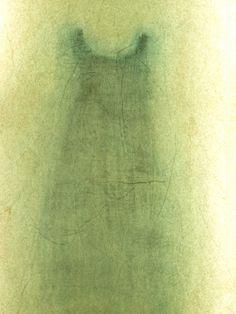 Magda Huygens tekening van kleedje gemaakt met gemengde technieken