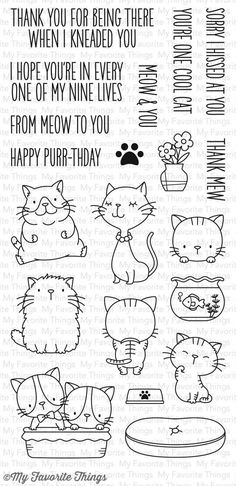 My Favorite Things - Clear Stamp - BB Cool Cats-Looking for the coolest collection of kitties out there? We've got them right here for you in the Cool Cat stamp set. These furry cuties will meow their way into your projects from their whiskers to the Doodle Drawings, Doodle Art, Cat Doodle, Bullet Journal Décoration, Sketch Note, Doodles, Mft Stamps, Digital Stamps, Clear Stamps