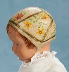 American Wooden Girl, Sculpted and Painted Bonnet, Model 106, Schoenhut 800/1200