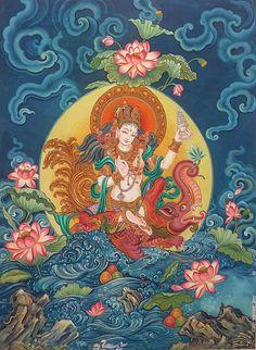 Ganga by Shrestha Ramprakash, Nepal Kerala Mural Painting, Indian Art Paintings, Buddhist Symbols, Buddhist Art, Tibet Art, Goddess Art, Tara Goddess, Thangka Painting, Thai Art