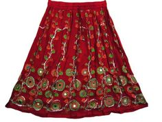 "Women Skirts Red Cotton Bohemin Sequin Beaded Embroidered Skirt 28"" Mogul Interior, http://www.amazon.com/dp/B0081OZUMK/ref=cm_sw_r_pi_dp_MuJQpb1KKX6EJ"