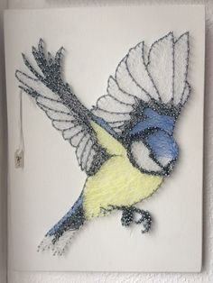 string art blue tit created by LSD String Art
