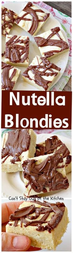 Nutella Blondies | Can't Stay Out of the Kitchen | These lovely shortbread #cookies have #Nutella swirled on top for a delicious #chocolate & #hazelnut flavor. #dessert