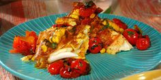 Grilled Halibut with Corn-Coconut Curry Sauce and Grilled Cherry Tomato Chutney