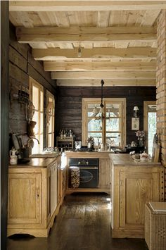 I would REALLY enjoy spending time in this charming rustic kitchen! (Need to improve the lighting?)