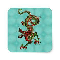 Dragón rojo y verde pegatina cuadrada