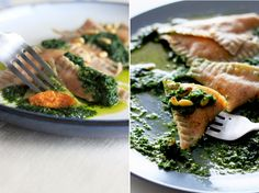 spelt & chia seed ravioli with sweet potato filling and kale pesto!