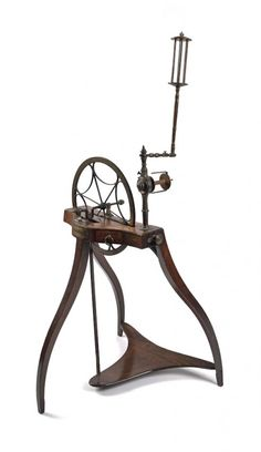 Scottish mahogany and brass spinning wheel. This almost looks like a spider spinning. Spinning Wool, Hand Spinning, Spinning Wheels, Spin Me Right Round, Drop Spindle, Vintage Sewing Machines, Fiber Art, Brass, Retro